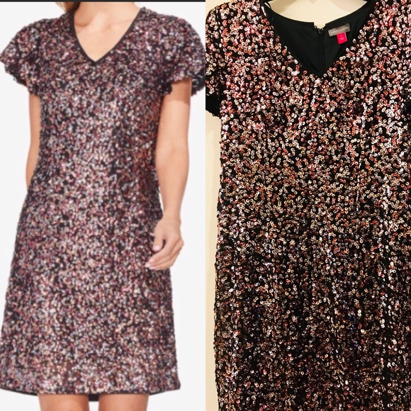 Vince Camuto Dresses & Skirts - NWT Vince Camuto Rose Gold Sequin Dress